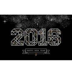 Happy new year 2016 gold deco geometry outline vector