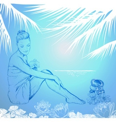 Blue hand drawn sketch of a lady at a tropical spa vector