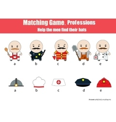 Matching children education game professions vector