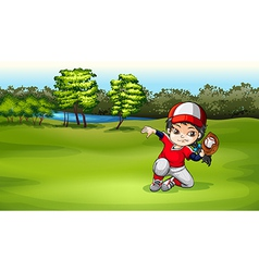 A baseball catcher at the field vector image vector image