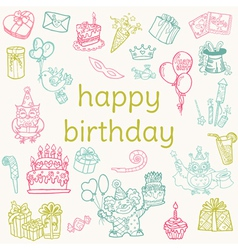 Birthday Card - with hand drawn elements vector image vector image