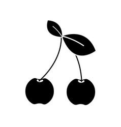 Black contour cherry fruit icon stock vector