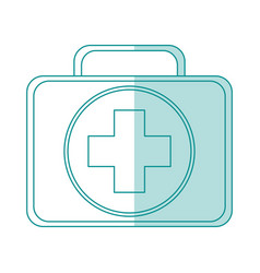 Blue silhouette shading first aid kit with symbol vector