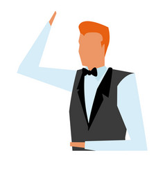 Business man wearing vest tie clothes vector