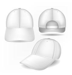 cap mockup in front side and back views vector image vector image