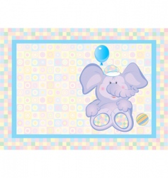 card of cute small elephant vector image
