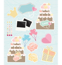 Collection of Love themed objects vector image