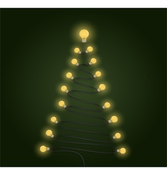Colorful light bulbs and christmas tree symbol vector