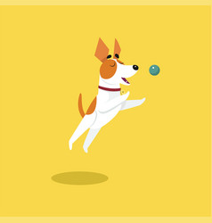 Cute jack russell terrier playing with ball funny vector