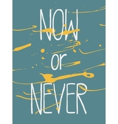 Decorative poster now or never vector