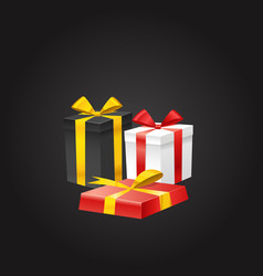 Different color gift boxes on black vector