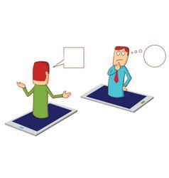 discussion via smartphone vector image