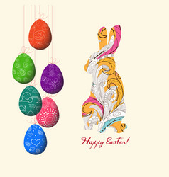 doodle decorative colorful eggs and doodle bunny vector image