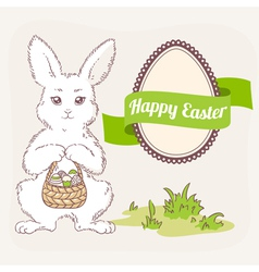Easter bunny with basket egg label and ribbon vector
