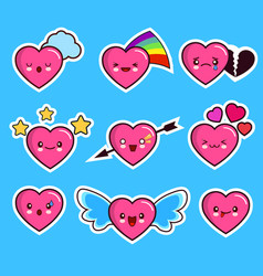 funny heart emoticon icon set valentine s day vector image
