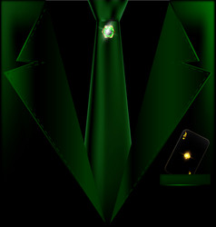 Green suit and black card vector