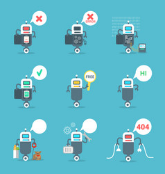 Modern robots icons set chat bot artificial vector