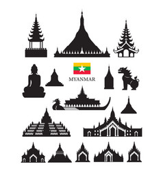 Myanmar landmarks architecture building object set vector