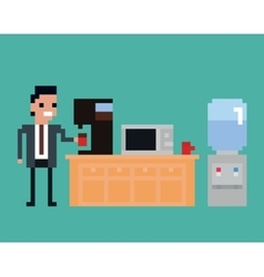 pixel art of office worker pours vector image