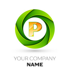 Realistic letter p logo in the colorful circle vector