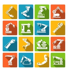 Robotic arm icons flat vector image vector image