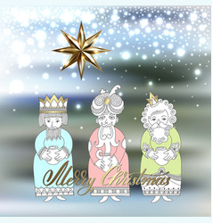 Three kings for christian christmas holiday - vector