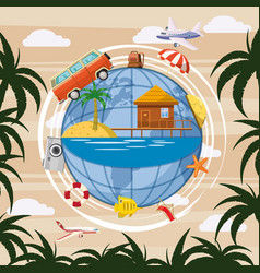 Travel tourism concept globe cartoon style vector