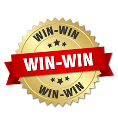 Win-win 3d gold badge with red ribbon vector