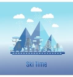 Winter time flat landscape ski resort vector
