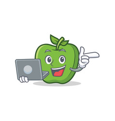 With laptop green apple character cartoon vector