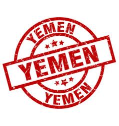 Yemen red round grunge stamp vector