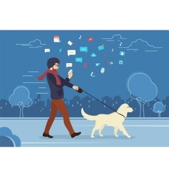 Young man walking outdoors with his dog in the vector