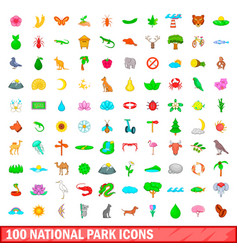 100 national park icons set cartoon style vector