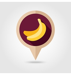 Banana flat pin map icon Tropical fruit vector image