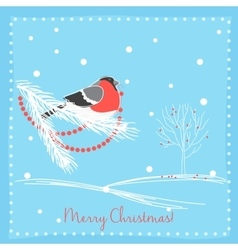 Christmas bullfinch bird on the branch tree vector