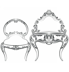 Classic royal furniture set with ornaments vector