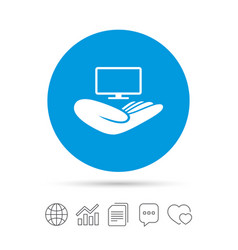 Tv insurance sign hand holds wide-screen tv vector