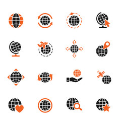 Globes icon set vector