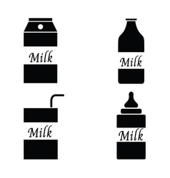 milk packaging icon set vector image