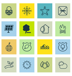 Set of 16 eco icons includes home guard tree vector