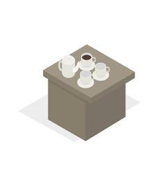Desk with tea set in working break cartoon style vector