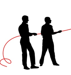Black silhouettes of people pulling rope vector