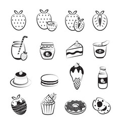 Strawberry fruit and product icons set vector