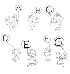 Set of happy alphabet hand-drawn cartoon vector
