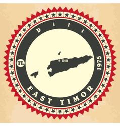 Vintage label-sticker cards of east timor vector