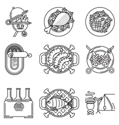 Black line icons for barbecue vector
