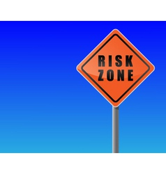 roadsign risk zone sky background vector vector image