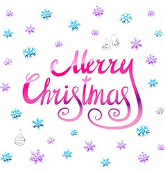 Merry christmas - pink glittering lettering design vector