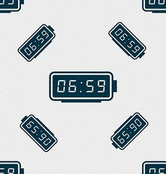 Alarm clock icon sign seamless pattern with vector