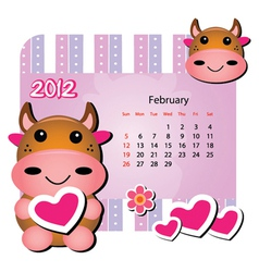 february cow calendar vector image